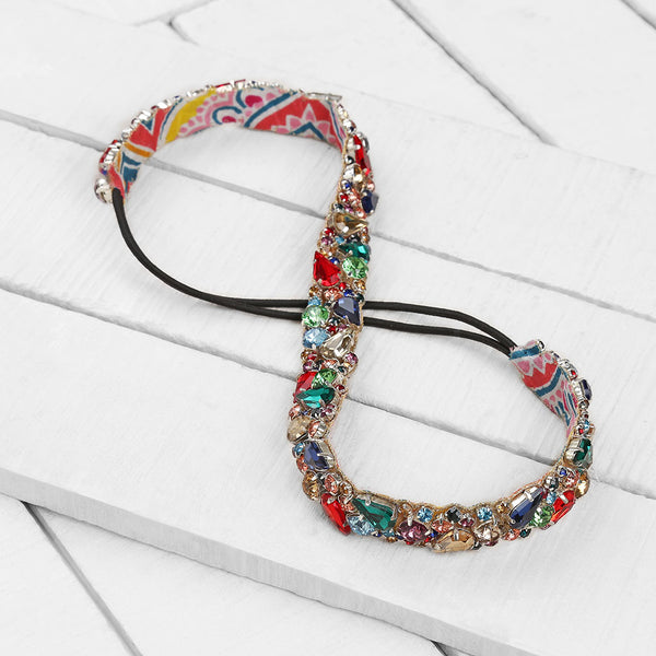 Deepa by Deepa Gurnani Handmade Celina Headband in Multicolor on Wood Background