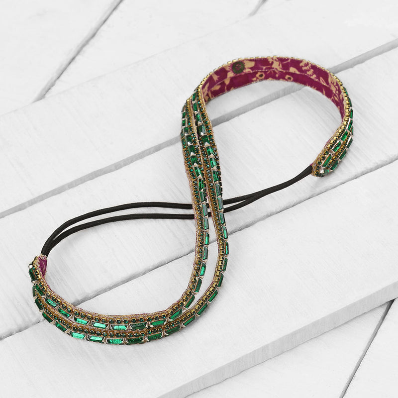 Deepa Gurnani Handmade Sydnee Headband in Emerald on Wood Background