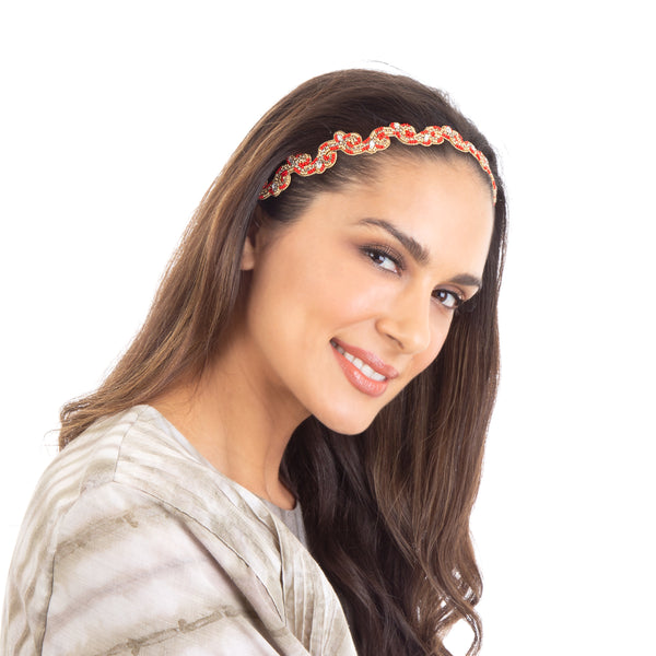 Red hand embroidered beaded headband