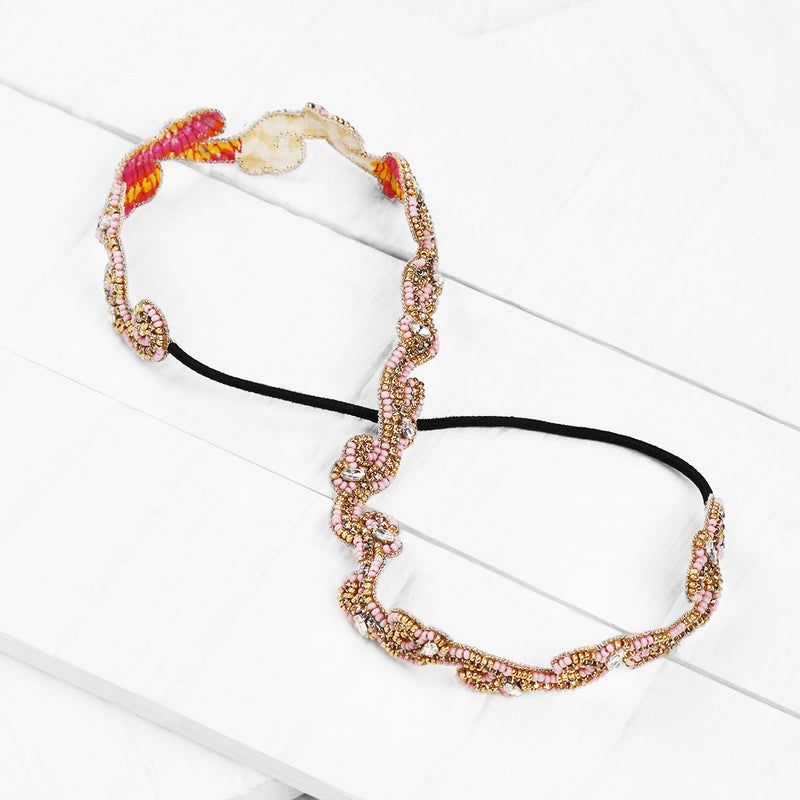 Deepa by Deepa Gurnani Handmade Ranya Headband in Pink on Wood Background