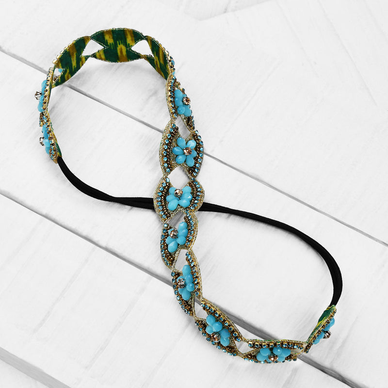 Deepa by Deepa Gurnani Handmade Genevieve Headband in Turquoise on Wood Background