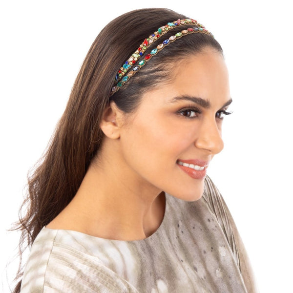 Handmade Avalon Headband with multicolor crystal accents