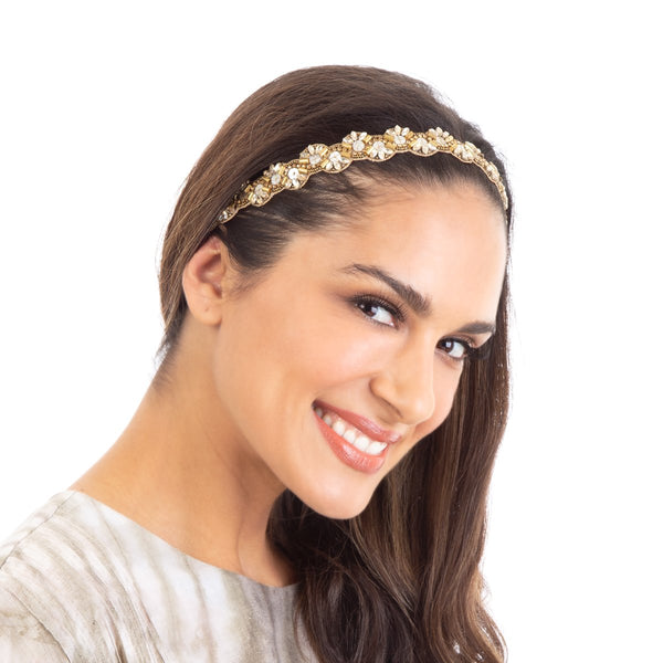 The Margaret Headband is handmade using the finest embroidery techniques