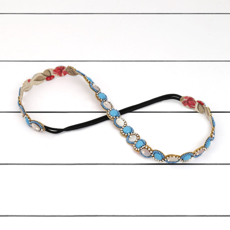 Deepa by Deepa Gurnani Handmade Maggy Headband Blue on Wood Background