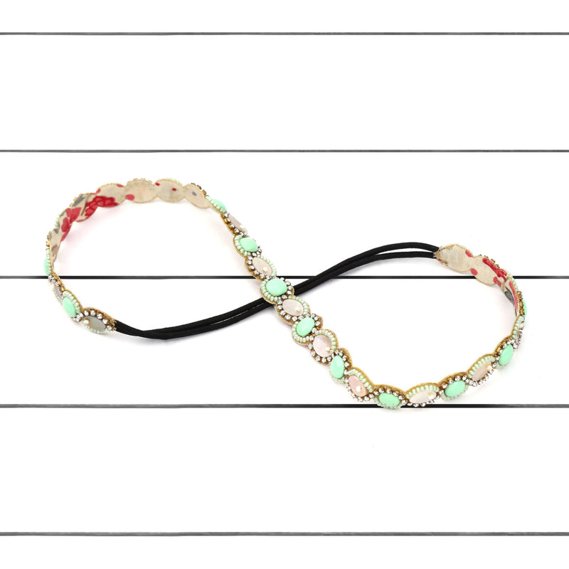 Deepa by Deepa Gurnani Handmade Maggy Headband Green on Wood Background