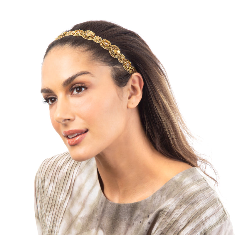 Gold Hand Embellished Statement Headband with Uniques Accents