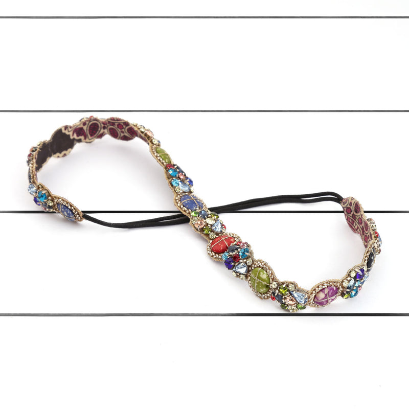 Deepa by Deepa Gurnani Handmade Renesmee Headband Multi Color on Wood Background