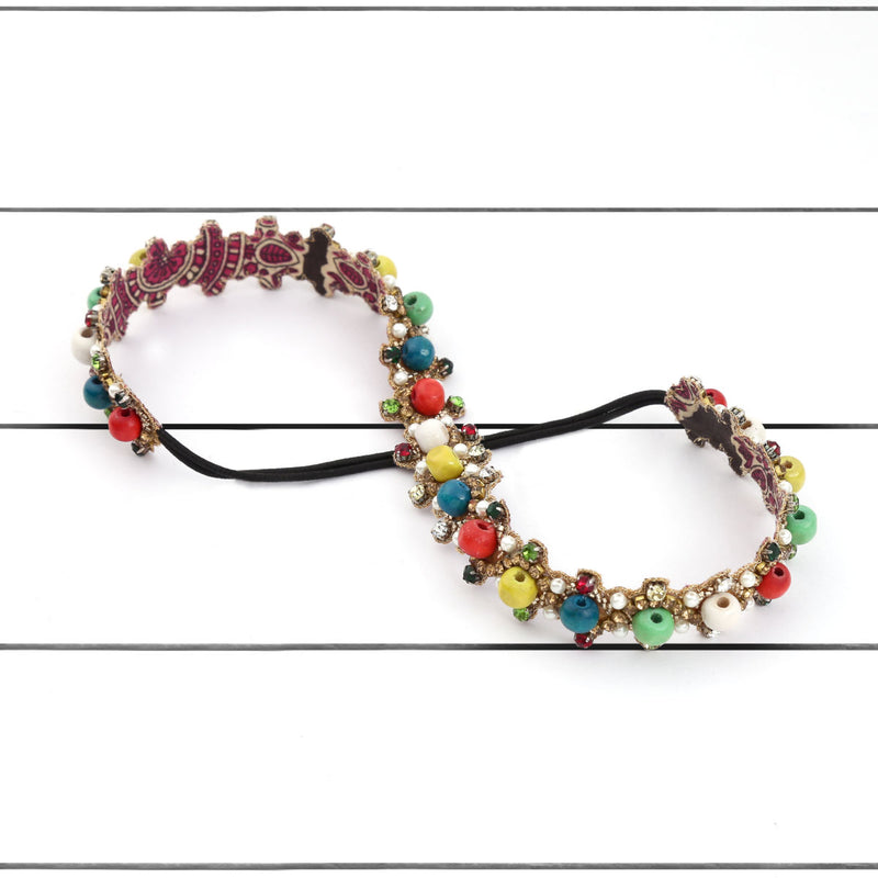 Deepa by Deepa Gurnani Handmade Hazan Headband Multi Color on Wood Background