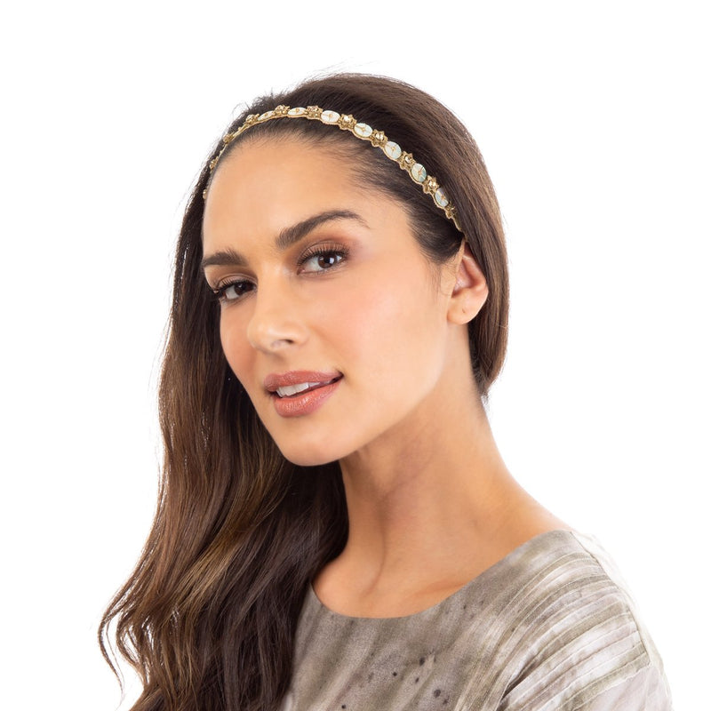 Aleia Headband with embroidered mother of pearl accents
