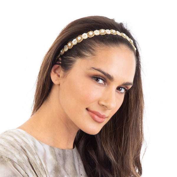 Handmade Mother of Pearl Headband by Deepa Gurnani