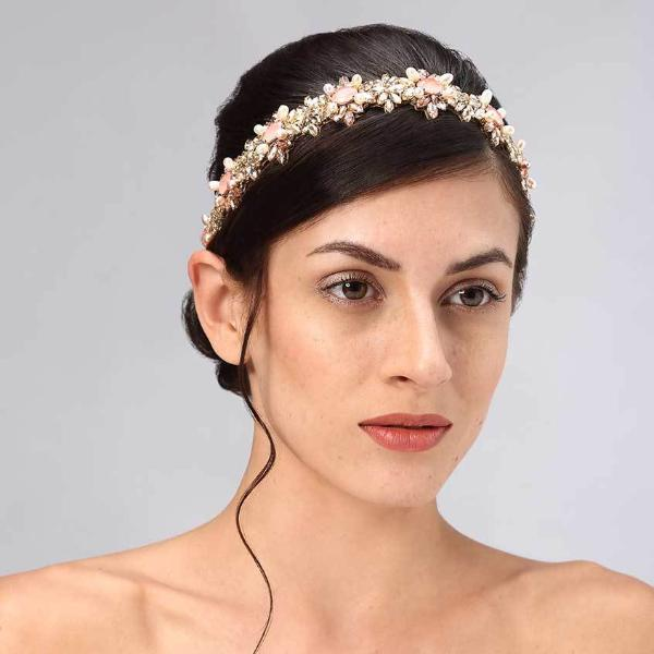 Model Wearing Deepa Gurnani Handmade Rosemary Headband in Gold