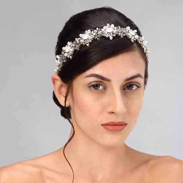 Model Wearing Deepa Gurnani Handmade Rosemary Headband in Gray