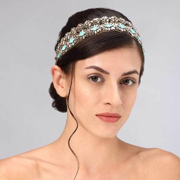 Model Wearing Deepa Gurnani Handmade Oaklynn Luxe Headband in Gold