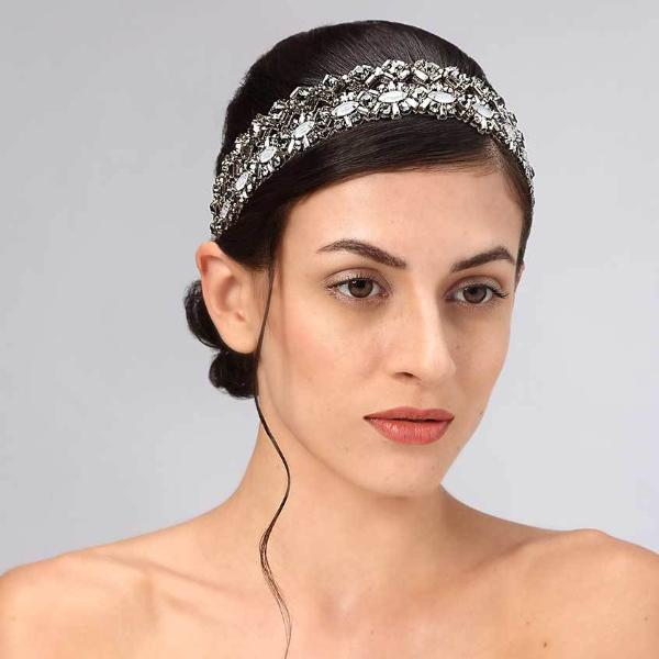 Model Wearing Deepa Gurnani Handmade Oaklynn Luxe Headband in Gunmetal