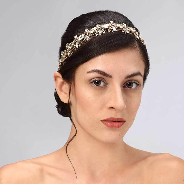 Model Wearing Deepa Gurnani Handmade Samara Luxe Headband in Gold