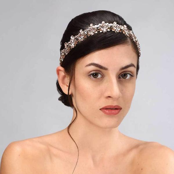 Model Wearing Deepa Gurnani Handmade Samara Luxe Headband in Rose Gold