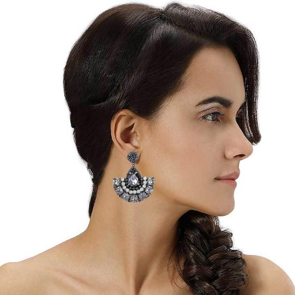 Model Wearing Deepa by Deepa Gurnani Handmade Wynn Earrings Gunmetal