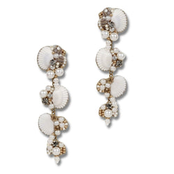Shell earrings with pearl accents
