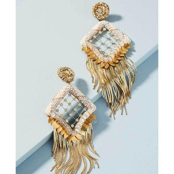 Deepa Gurnani Handmade Amorica Luxe Earrings on Powder Blue Background