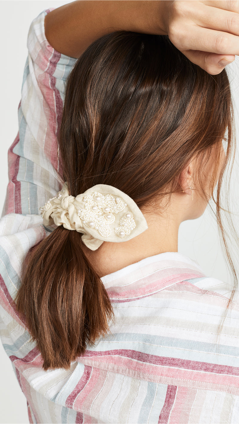 Pearl embroidered scrunchie