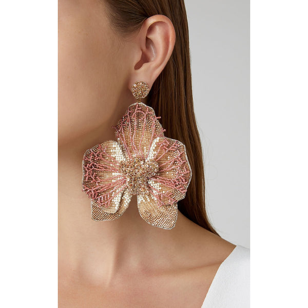 Model Wearing Deepa Gurnani Lightweight Orchid Statement Earrings Gold