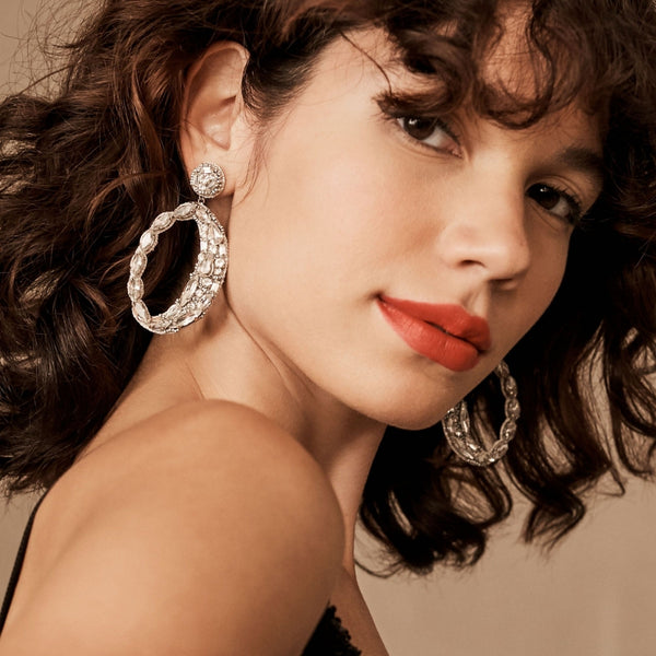 Freida Silver Crystal Earrings