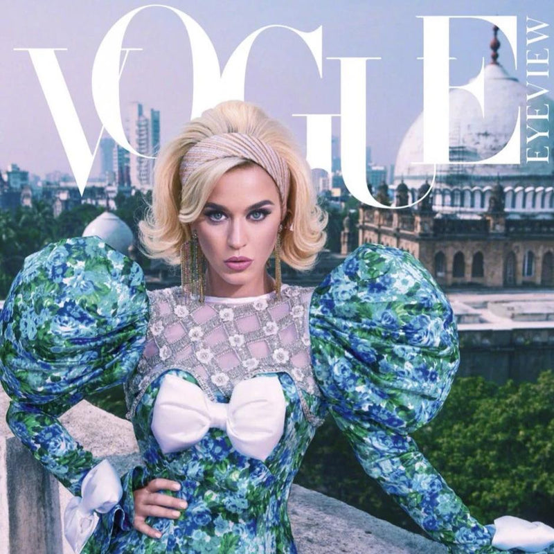 Katy Perry in January 2020 India Vogue wearing Deepa Gurnani Cadie Earrings