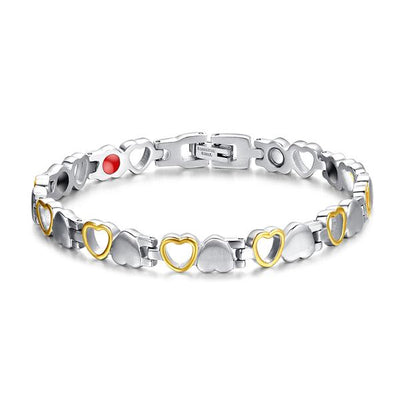 SW04 Women Stainless Silver Gold Hearts