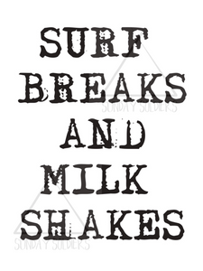 Surfbreaks and Milkshakes PRINTABLE POSTER