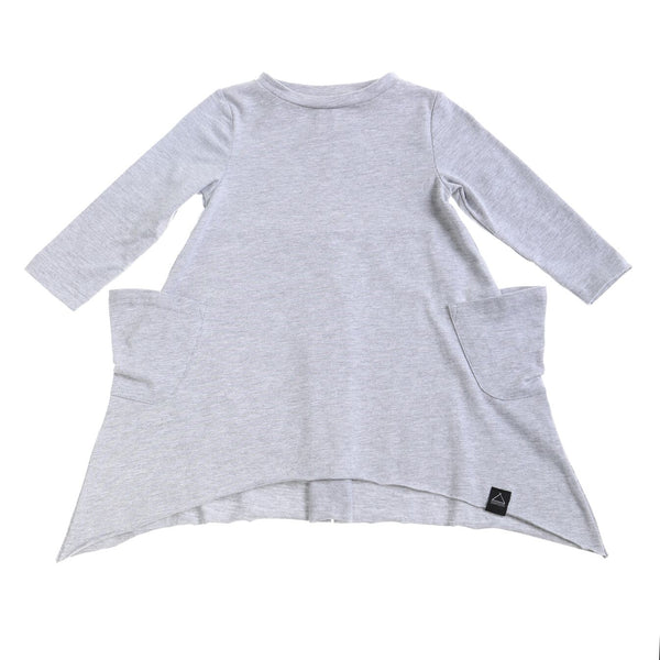 RAW EDGE POCKET DRESS GREY