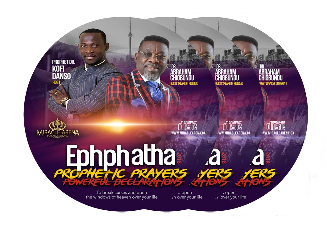 #30008 - Ephphatha 2018 Conference Set includes Prophetic Prayers & Powerful Declaration CD (16-Disc Set) - Miracle Arena Bookstore