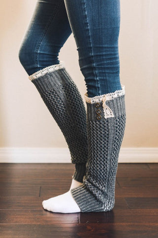 Crotchet Leg Warmers, Gray