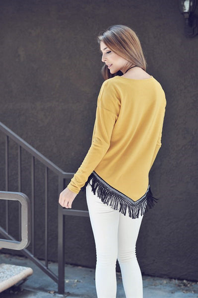 For The Love Of Fringe Sweater, Gold
