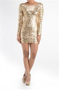 Holiday Sparkle Gold Dress