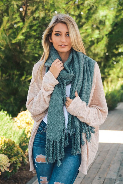 Cozy Rustic Teal Scarf