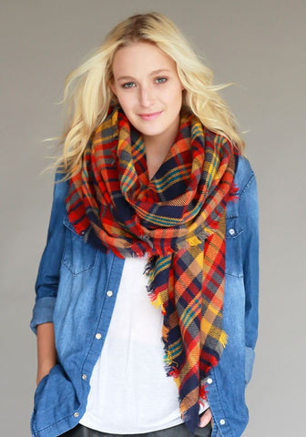 Fall Blanket Scarf, Red