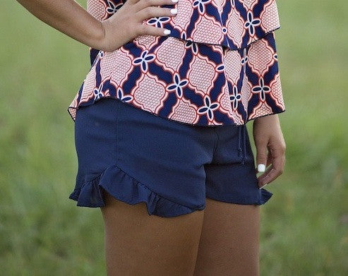 Feeling Hot Ruffle Shorts, Navy