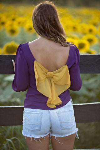 Gold Bow Back Top