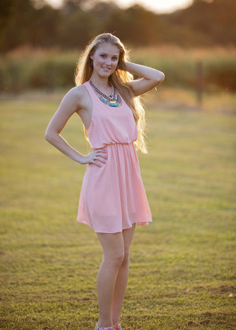 Tic Tac Toe Dress, Blush