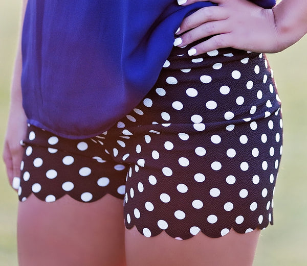 Sophisticated Scalloped Hem Shorts