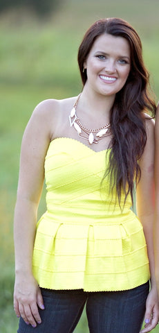 Bright Away Top, Neon Yellow