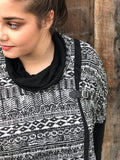 Curvy, plus cowlneck aztec sweater. The Gypsy Catwalk