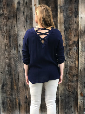 Honey Troubles Top, Navy