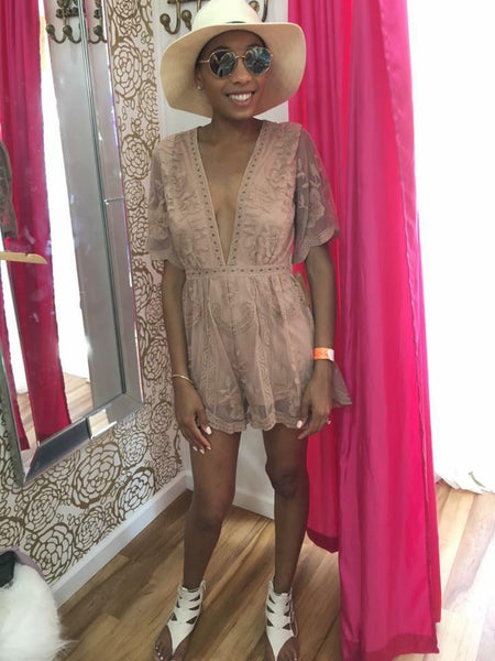 Nothing Short of Stunning Romper, Mocha