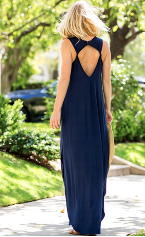 You can't beat a solid maxi dress like this! It's perfectly casual yet can be dressed up so easily! Your jewelry will stand out so well against the solid, jersey knit fabric! The Gypsy Catwalk Check out that back!   The material has a generous amount of stretch.
