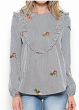 Black and White embroidery blouse, boutique style The Gypsy Catwalk Shenandoah Valley base boutique.