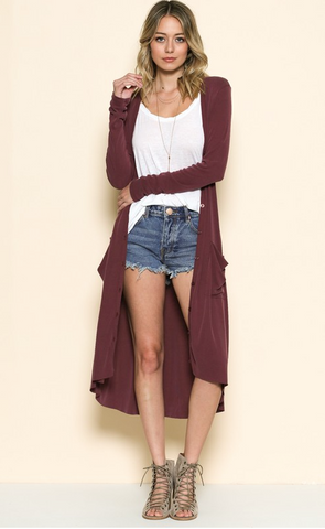 Maxi Cardigan, New Burgundy