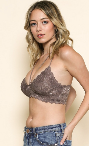 Lace Bralette Top, Mocha