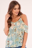 Cold Shoulder floral mint blouse top. Light weight, sheer perfect for summer