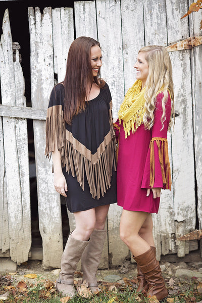 Crazy Over Fringe Dress, Burgandy